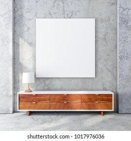 Square poster canvas mockup hanging on concrete wall in modern living room with wooden bureau. 3d rendering