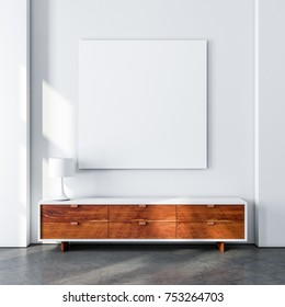 Square poster canvas mockup in modern living room with bureau. 3d rendering