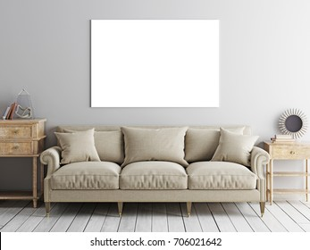 Square poster mock up, sofa and low table on beige wall background. 3d rendering.