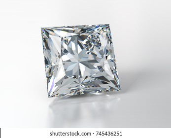 Square princess cut diamond on glossy white background, with slight reflection, shadow. Close-up front view, 3D rendering illustration