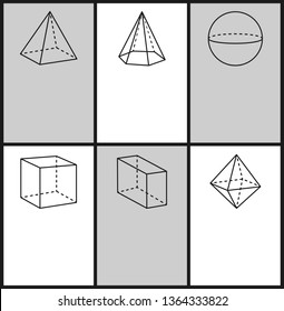 Square pyramid hexagonal sphere cube cuboid octahedron geometric shapes projections symmetric figures with dashes and lines set text
