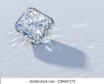 Square radiant cut diamond close-up on white background, rear light, caustics rays. 3D illustration