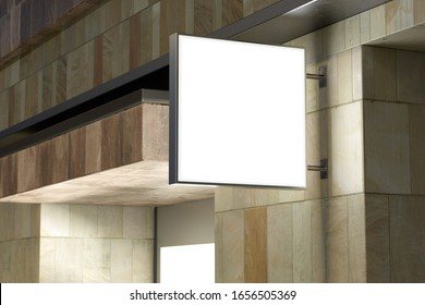 Square signboard or signage on the marble wall with blank white sign mock up. Night scene. Side view. 3d illustration