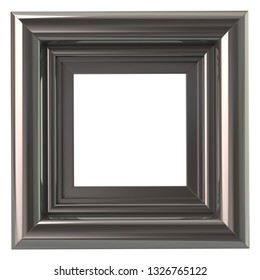 Square silver frame 3d illustration isolated on white