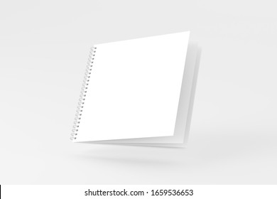Square Spiral Notebook Notepad White Blank 3D Rendering Mockup