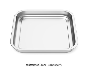 Square stainless steel baking food tray isolated on white background. Front view. 3D illustration