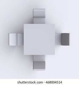Square table with chairs on white empty floor background. Top view. 3d render.