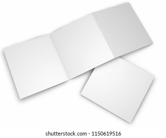 Square three blank pages leaflets, brochures mock up, isolated on white 3d rendering.