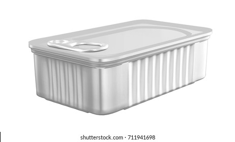 Square Tin Can Packaging Mockup   for Design Project - Mock Up 3D illustration Isolate on White Background