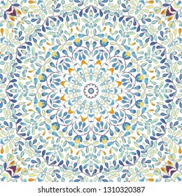 Square watercolor pattern for textile, ceramic tiles and design. Oriental vintage round motif. Colorful painting kaleidoscope mandala. Hand drawn abstract pattern, print, seamless  background.