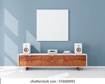 Square white canvas Mockup hanging on the Blue wall, hi fi micro system on bureau, 3d rendering