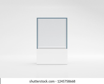 Square white glass showcase box mockup, front view isolated on gray, 3d rendering