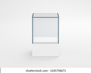 Square white glass showcase box mockup, isolated on gray, 3d rendering