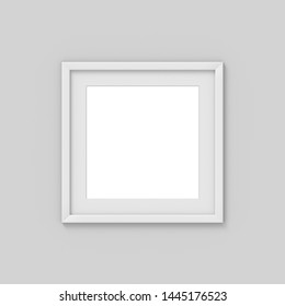 Square white simple picture frame with a border. Mockup for photography. 3D rendering