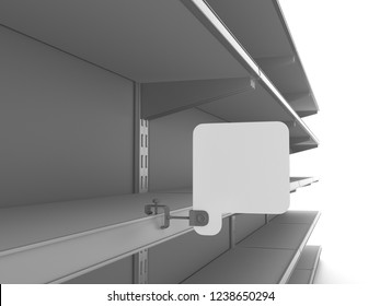 Square Wobbler. Empty Shelf With Stoppers. 3D rendering