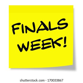 A square yellow sticky note with the words Finals Week making a great school test concept.