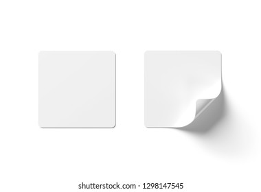Squared sticker mockup isolated on white background 3D rendering