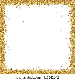 Squarish Frame Consists from Golden Asterisks on White Background - Golden Confetti Stars Border