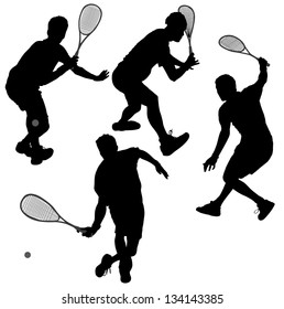 Squash players Silhouette on white background. Raster version with clipping paths