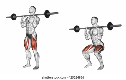 Squats on his chest. 3D illustration