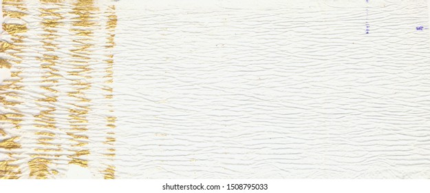 Squeezed Tie Dye Picture. White and Gold Color. Shabby Paper. Old Background. Gold stripes on white corrugated paper. Ink Wallpaper.