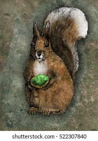 Squirrel with emerald colourful illustration in grunge style