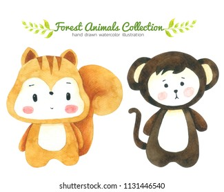 Squirrel and Monkey Cartoon watercolor collection isolated on white background ,Forest Animal Hand drawn painted character for Kids,Greeting Card ,Cases design,Postcards, Product,Notebook and more