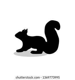 Squirrel rodent mammal black silhouette animal. JPG illustration.