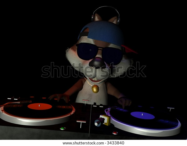 A squirrelly DJ mixing up some nutty tunes.  Turntables with vinyl albums. Isolated on a black background.