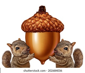 Squirrels holding an acorn as friendly teamwork of cute furry rodents gripping a giant nut for advertising and marketing as a message from animal wildlife or as a symbol of savings and investment.