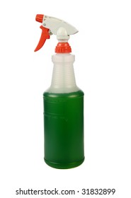 "a squirt bottle of green cleaning liquid ""isolated on white"""