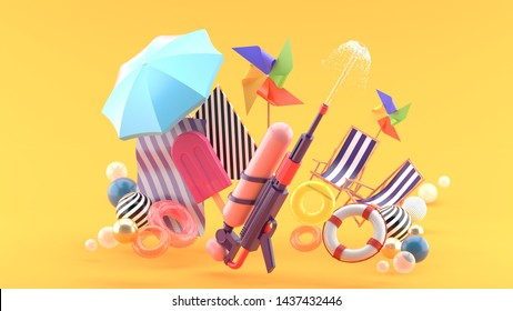 Squirt gun surrounded by umbrellas, rubber rings, beach chairs and turbines surrounded by colorful balls on an orange background.-3d rendering.