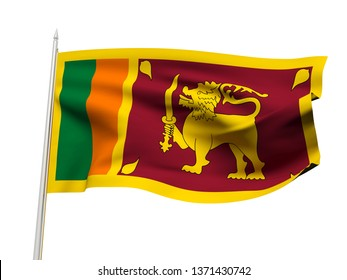 Sri Lanka flag floating in the wind with a White sky background. 3D illustration.