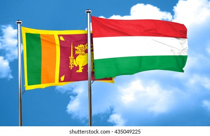 Sri lanka flag with Hungary flag, 3D rendering