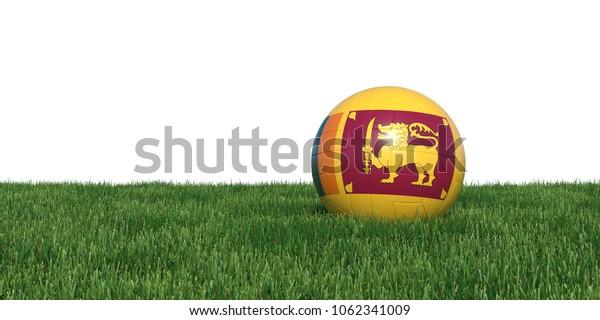 Sri lanka flag soccer ball lying in grass, isolated on white background. 3D Rendering, Illustration.