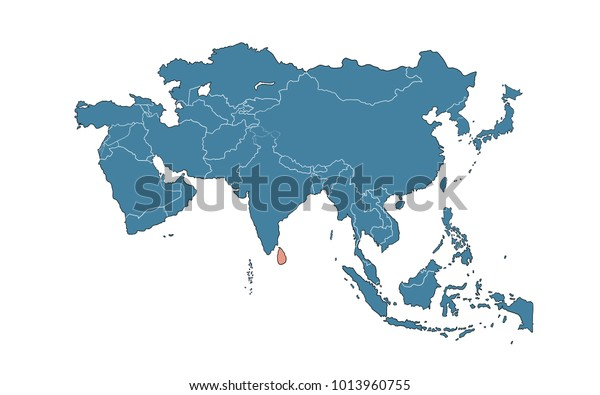 Map Of Asia Sri Lanka.Sri Lanka On Asia Map Stock Illustration 1013960755