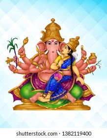 Sri Maha Ganapati – Image of Maha Ganapati, 13th among the 32 Ganesha forms, holding a broken tusk, conch, mace, noose, sugarcane bow, a sprig of paddy, blue lily, pomegranate, a pot of jewels
