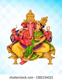 Sri Shakti  Ganapati – Image of Shakti Ganapati, 5th among the 32 Ganesha forms, embracing his consort seated on his lap