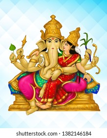 Sri Urdhva Ganapati – Image of Urdhva Ganapati, 16th among the 32 Ganesha forms, embracing his consort on his lap. He is depicted with 6 hands holding different weapons