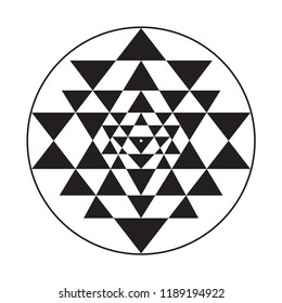 The Sri Yantra or Sri Chakra is a form of mystical diagram used in the Shri Vidya school of Hindu tantra. It consists of nine interlocking triangles that surround a central point known as a bindu. The