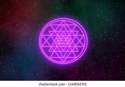 Sri Yantra  hindu sign inclouded with constituent triangles vary in size and shape and intersect to smaller triangles,
