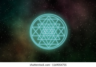 Sri Yantra hindu sign inclouded with constituent triangles vary in size and shape and intersect to form  smaller triangles,