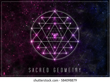 Sri yantra. Sacred geometry design element. Alchemy, hipster sacred symbols on a abstract cosmic background with shining stars and color squares.