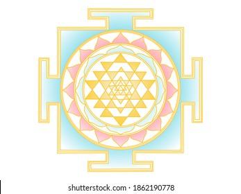 Sri Yantra (Shree Yantra) Mandala in light feminine colors