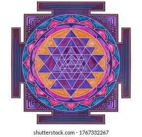 Sri Yantra Vedic symbol. If you are using a Sri Yantra in a home or office, the Vedics recommended that it faces East