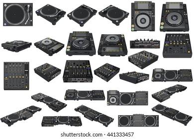Srt professional table dj equipment mixer with vinyl player. 3D graphic