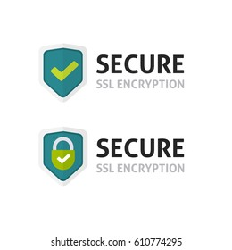SSL certificate icon, secure encryption shield, protected connection label, secure lock symbol isolated on white image