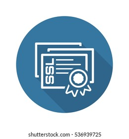 SSL Certificates Icon. Flat Design Long Shadow