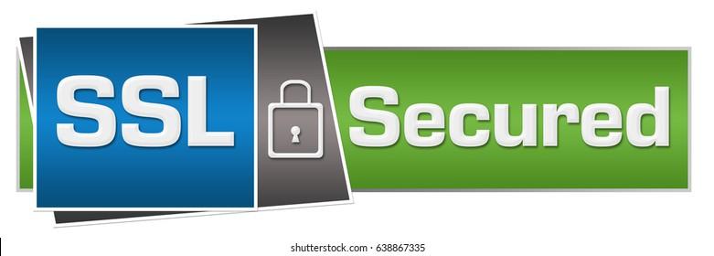 SSL Secured Green Blue Lock Horizontal