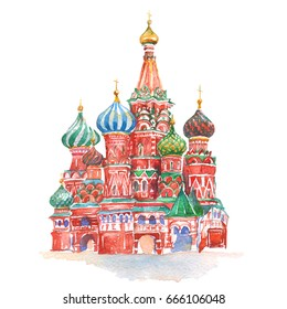 St. Basil's Cathedral Cremlin Church in Moscow on white background watercolor illustration